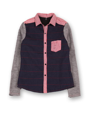 Куртка джинсовая с воротником в клетку красный 5165